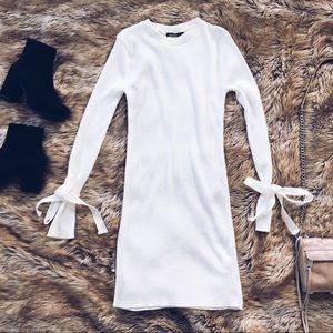 Boohoo rib knit long sleeve sweater dress white